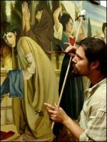 Luca Battini maalaamassa freskoa